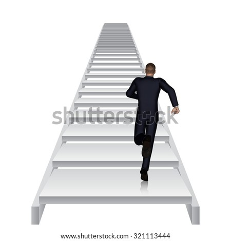 Conceptual 3D business man running or climbing white stair isolated on white background metaphor to success, climb, business, rise, achievement, growth, job, career, leadership, education, goal future - stock photo