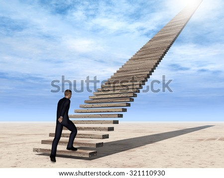Conceptual 3D business man walking or climbing stair on sky background with clouds metaphor to success, climb, business, rise, achievement, growth, job, career, leadership, education, goal or future - stock photo