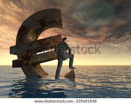 Conceptual 3D currency euro symbol sinking in water, sea or ocean with business man, concept for European crisis, metaphor to financial, banking, businessman, economy, problem, danger, risk at sunset