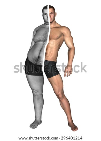 Conceptual 3D fat overweight vs slim fit with muscles young man on diet on white background metaphor to sport, athlete, fitness, health, fit, sexy, strength, power, attractive, bodybuilding, gym, diet - stock photo