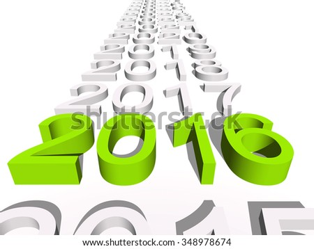Conceptual 3D green 2016 new year text standing out of the crowd on white background  for holiday symbol Christmas calendar, happy, eve, December, January, time change, season, new year winter graphic - stock photo