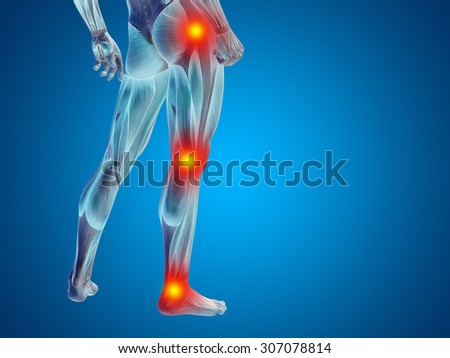 Conceptual 3D human man anatomy lower body, health design, joint, articular pain, ache, injury on blue background for medical, fitness, medicine, bone, care, hurt, osteoporosis, painful arthritis body - stock photo