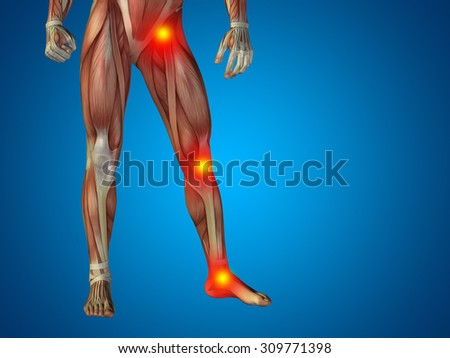 Conceptual 3D human man anatomy lower body, health design, joint, articular pain, ache,  injury on blue background for medical, health, science, rheumatism, inflamation, injury, osteoporosis, disease - stock photo
