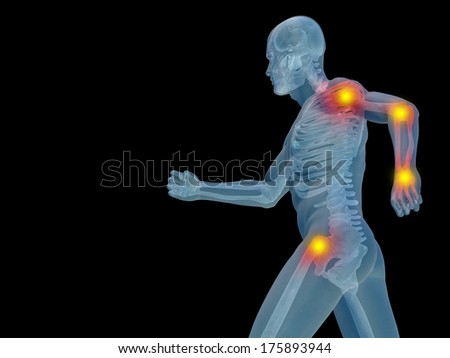 Conceptual 3D human man anatomy or health design, joint or articular pain, ache injury isolated on black background, for medical, fitness, medicine, bone, care, hurt, osteoporosis, arthritis or body