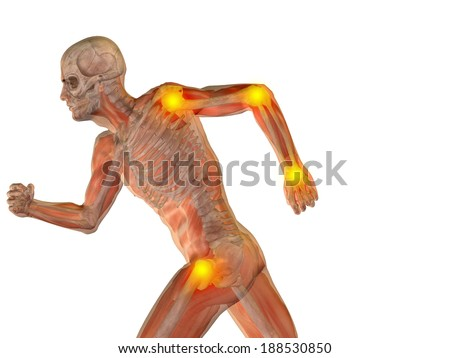 Conceptual 3D human man anatomy or health design, joint or articular pain, ache injury isolated on white background, for medical, fitness, medicine, bone, care, hurt, osteoporosis, arthritis or body - stock photo