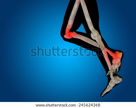 Conceptual 3D human man anatomy or health design, joint or articular pain, ache or injury on blue background, for medical, fitness, medicine, bone, care, hurt, osteoporosis, painful, arthritis or body - stock photo