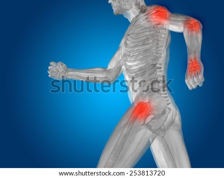Conceptual 3D human man anatomy or health design, joint or articular pain, ache or injury on blue background - stock photo