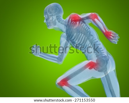 Conceptual 3D human man anatomy or health design joint or articular pain ache or injury on green gradient background for medical fitness medicine bone care hur, osteoporosis painful arthritis or body - stock photo