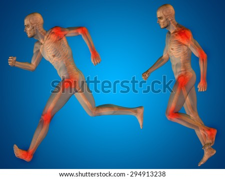 Conceptual 3D human man anatomy or health design, joint or articular pain, ache or injury over blue gradient background for medical fitness medicine bone care hurt osteoporosis painful arthritis body - stock photo