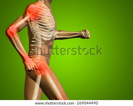 Conceptual 3D human man anatomy or health design, joint or articular pain or injury on green gradient background, for medical, fitness, medicine, bone, hurt, osteoporosis, painful, arthritis or body - stock photo