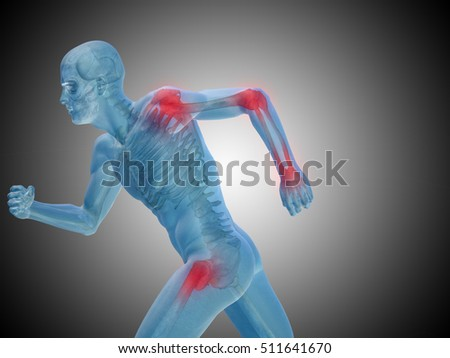 Conceptual 3D illustration human man anatomy or health design, joint or articular pain, ache or injury on gray background for medical, fitness, medicine, bone, care, hurt, osteoporosis, arthritis body
