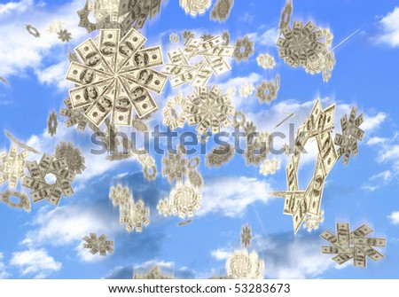 Conceptual 3D illustration of snowflakes made from hundred dollar bills falling from the sky Easy money Lottery prize concept