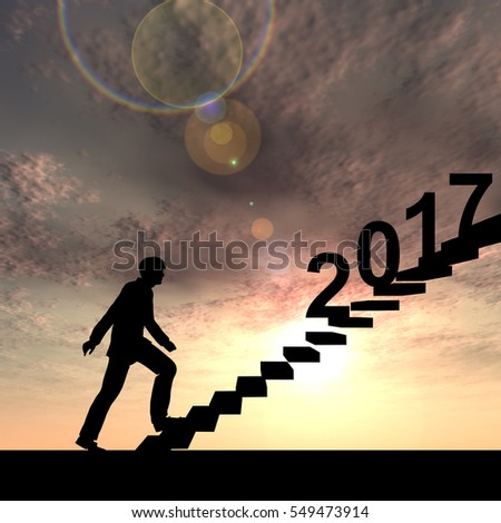 Conceptual 3D male businessman on stair or with 2017 new year eve over sunset sky background, metaphor to success, climb, business, rise, future, achievement, growth, holiday, celebration or greeting