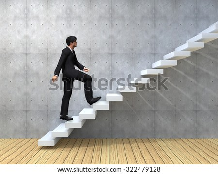 Conceptual 3D man or  businessman climbing on a stair or steps near a wall background metaphor to success, climb, business, rise, achievement, growth, job, career, leadership, education, goal future - stock photo