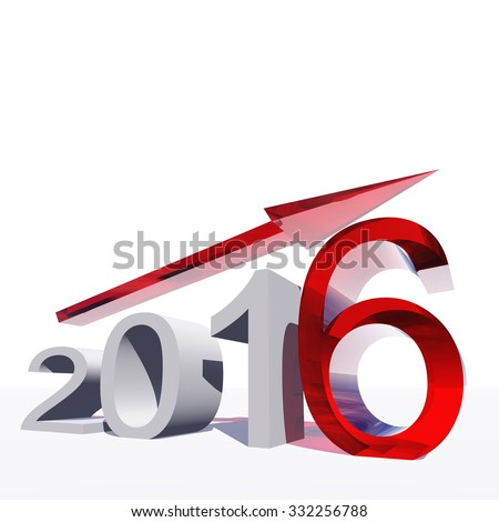Conceptual 3D red 2016 year symbol with an arrow isolated on white for success, growth, graph, future, finance, financial, new year, holiday, increase, rise, date, career, forecast progress december - stock photo