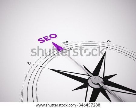 Conceptual 3D render image with a frameless Compass focus on the word - stock photo