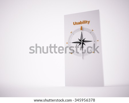 Conceptual 3D render image with a frameless Compass focus on the word usability - stock photo