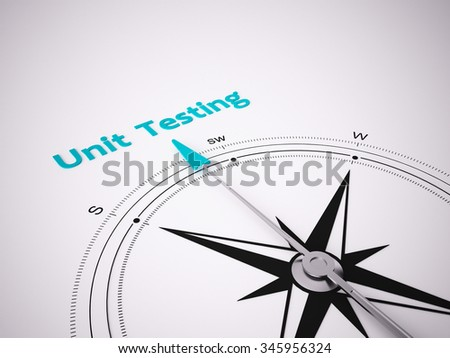 Conceptual 3D render image with a frameless Compass focus on the words unit testing - stock photo