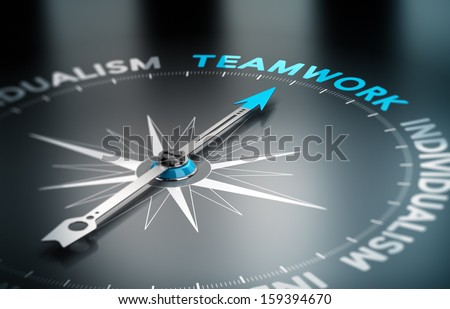 Conceptual 3D render image with depth of field blur effect. Compass with the needle pointing the word teamwork, Concept of unity versus individualism.  - stock photo