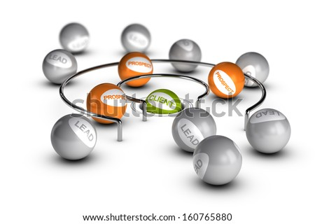 Conceptual 3D render image with depth of field blur effect. Concept of leads to customer conversion. - stock photo