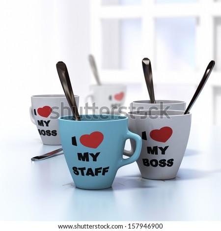 Conceptual 3D render image with depth of field blur effect. Many mugs where it is written I love my staff and my boss, symbol of wellbeign at work and good workplace relationship. - stock photo