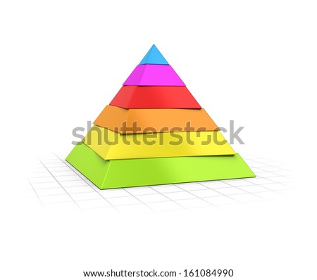 Conceptual 3D render of a six layers pyramid over perspective background.  - stock photo