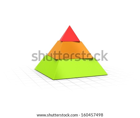 Conceptual 3D render of a three layers pyramid over perspective background.  - stock photo
