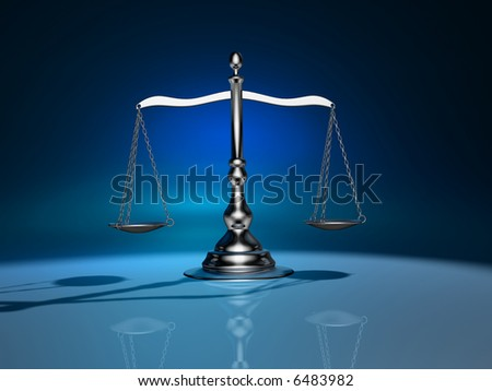Conceptual 3d rendering of a silver brass scale - stock photo
