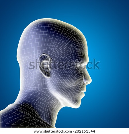 Conceptual 3D wireframe young human male or man face or head on blue gradient background as metaphor for technology, cyborg, digital, virtual, avatar, model, science, fiction, future, mesh or abstract
