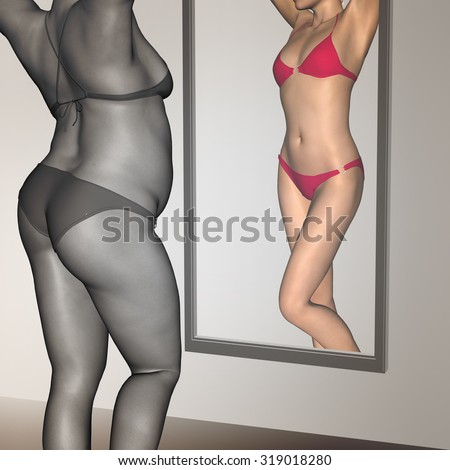 Conceptual 3D woman, girl as fat, overweight vs fit healthy, skinny underweight anorexic female before and after diet over a mirror metaphor to health, nutrition, beauty, body, sport, slimming shape - stock photo