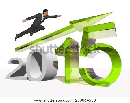 Conceptual 3D 2015 year with a growing arrow isolated on white background with a business man flying. A metaphor for economy, growth, future, finance, progress, success, improvement, profit designs. - stock photo