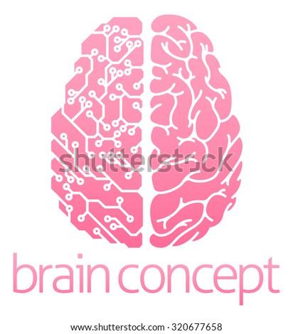 Conceptual design of a human brain electrical computer circuit concept design - stock photo