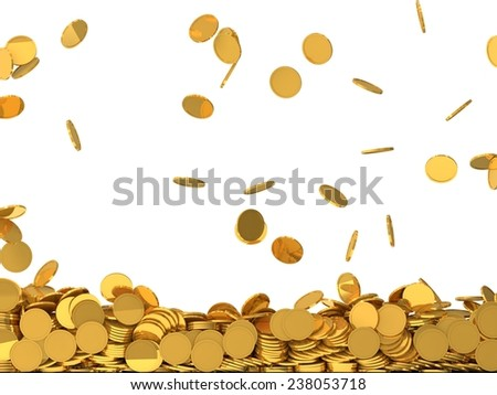 conceptual design of falling golden coins.(screen filling with coins) - stock photo