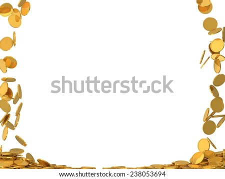conceptual design of falling golden coins.(screen filling with coins.two side version) - stock photo
