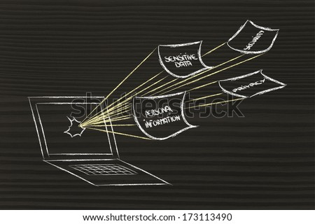 conceptual design of security of data and personal information on the web - stock photo