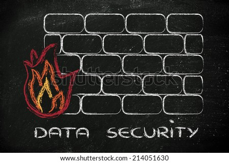 conceptual design with firewall and security of data on the web - stock photo