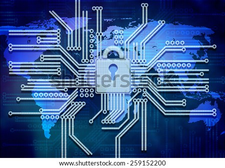 Conceptual digital image of lock on circuit background - stock photo