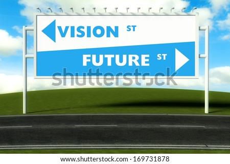 Conceptual direction signs lead to vision or future, concept - stock photo