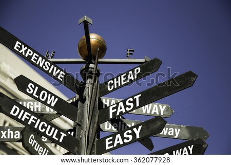 Conceptual Directional Signage,  Decision process - stock photo