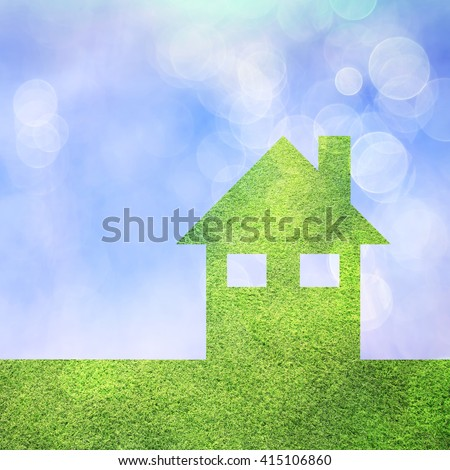 Conceptual eco green house copy space background with grass texture and blurred bokeh blue sky. Friendly living in modern home. Square composition.