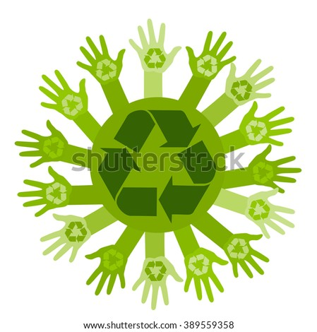 Conceptual ecology illustration with hands and recycling sign. Raster - stock photo