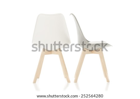 Conceptual Empty White Wooden Leg Chairs Isolated on White Background. - stock photo