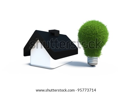 conceptual energy conservation in the home - stock photo