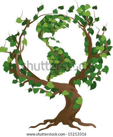 Conceptual environmental  illustration. The globe growing in the branches of a tree.