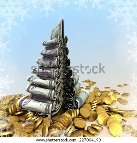 Conceptual fantasy Christmas fur-tree made of paper dollars and box gifts. New Years 3d illustration - stock photo