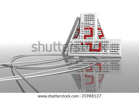 conceptual faq, 3d render of some keyboards, computer support needed, puzzled about computer science, requesting help with the computers, lots of keyboards with data cables - stock photo