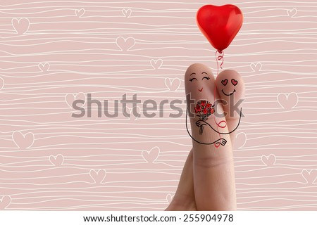 Conceptual finger art. Lovers is embracing and holding red balloon. Stock Image. Happy Valentine's Day, wedding and 8 March creative and funny love series. Painted fingers in love concept - stock photo