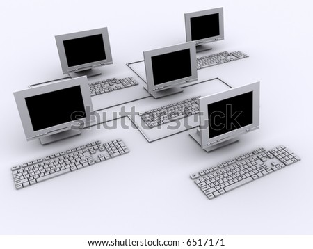 Conceptual five computers network  - rendered in 3d