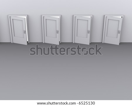 Conceptual four slightly opened door - rendered in 3d