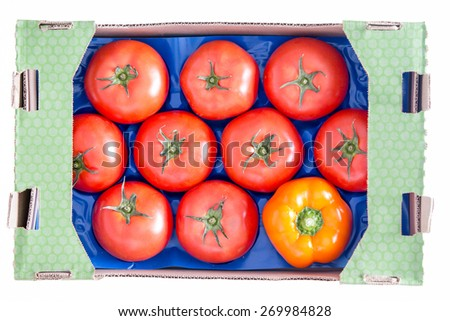 Conceptual Fresh Nine Red Tomatoes and a Yellow Bell Pepper on a Blue Tray Inside a Cardboard Box. Isolated on a White Background, High Angle View. - stock photo